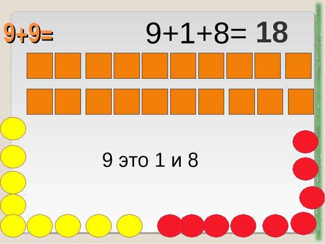 9+9= http://aida.ucoz.ru 9 это 1 и 8 9+1+8= 18