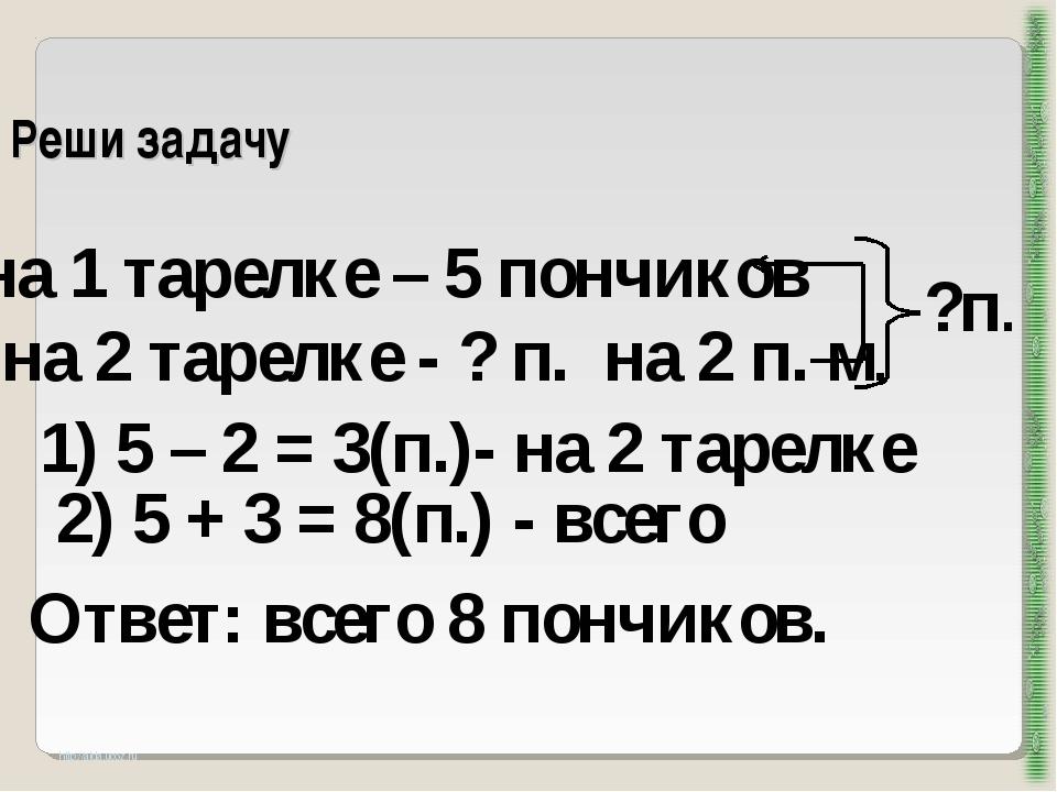 Реши задачу http://aida.ucoz.ru на 1 тарелке – 5 пончиков на 2 тарелке - ? п....