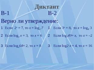 Диктант В-1В-2 Верно ли утверждение: 1Если 2х = 7, то х = log2 71Если 3