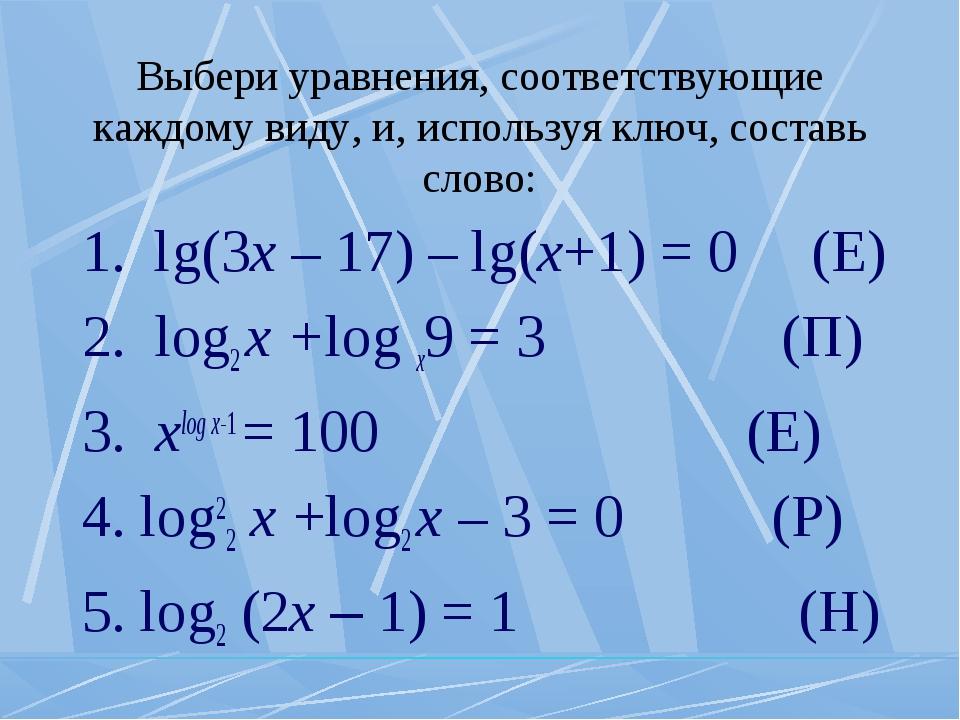 Выбери уравнения, соответствующие каждому виду, и, используя ключ, составь сл...
