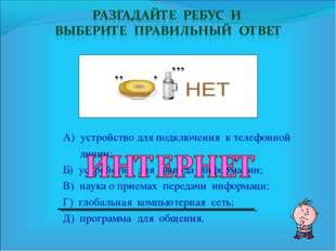 А) устройство для подключения к телефонной линии; Б) устройство для вывода ин