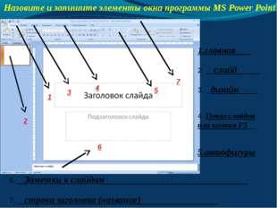 Назовите и запишите элементы окна программы MS Power Point 1.главная___ 2. __
