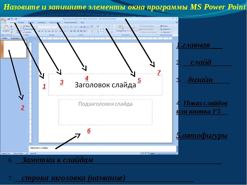 Назовите и запишите элементы окна программы MS Power Point 1.главная___ 2. __...