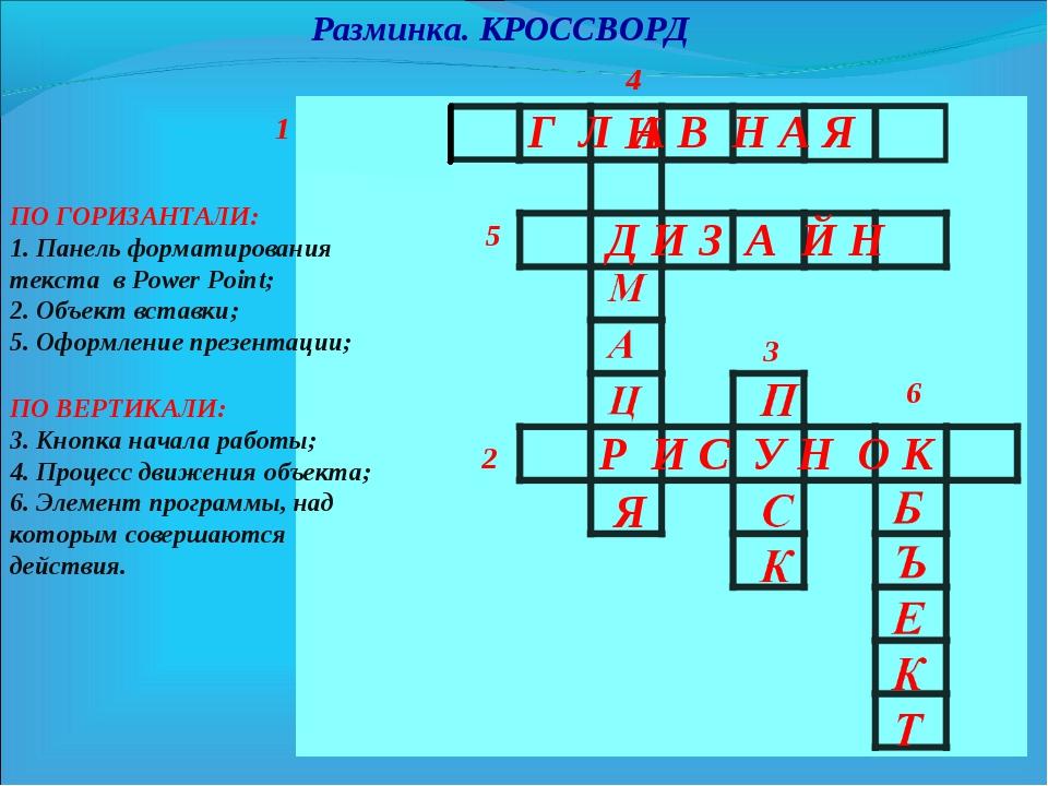 Разминка. КРОССВОРД 1 3 5 4 2 ПО ГОРИЗАНТАЛИ: 1. Панель форматирования текста...