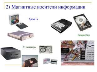 ©Bolgova N A * 2) Магнитные носители информации Дискета Винчестер Стриммеры ©