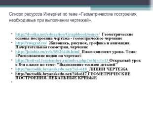 Список ресурсов Интернет по теме «Геометрические построения, необходимые при