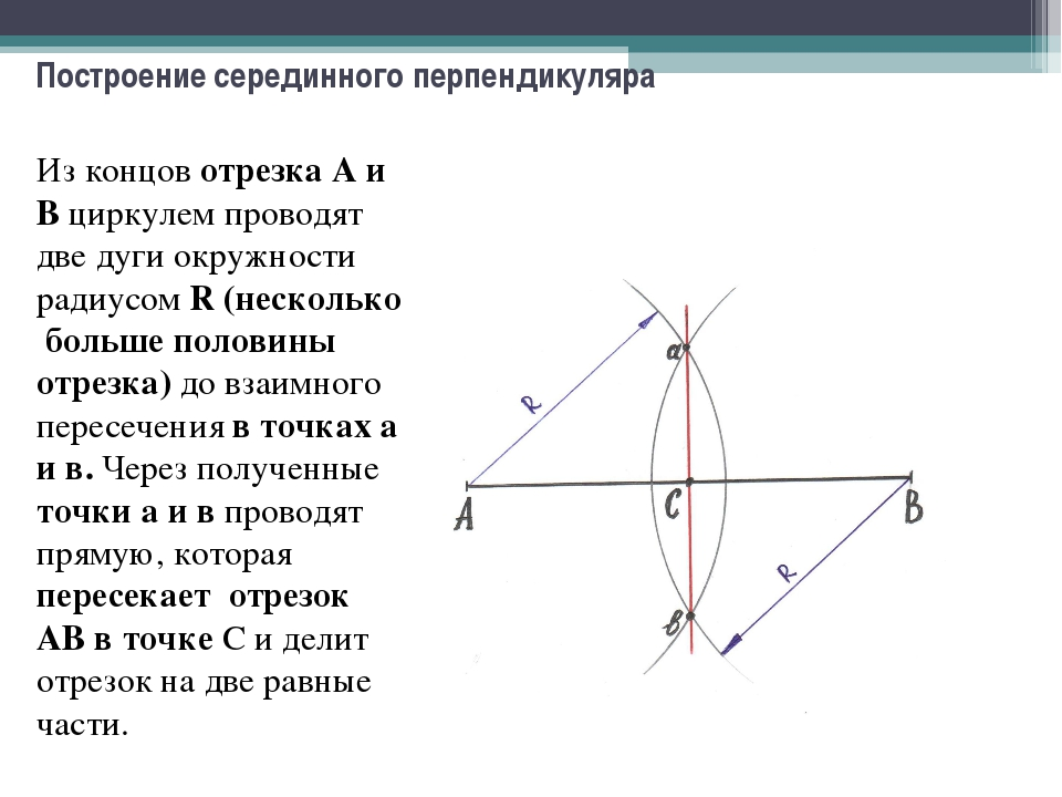 Построение серединного перпендикуляра Из концов отрезка А и В циркулем провод...