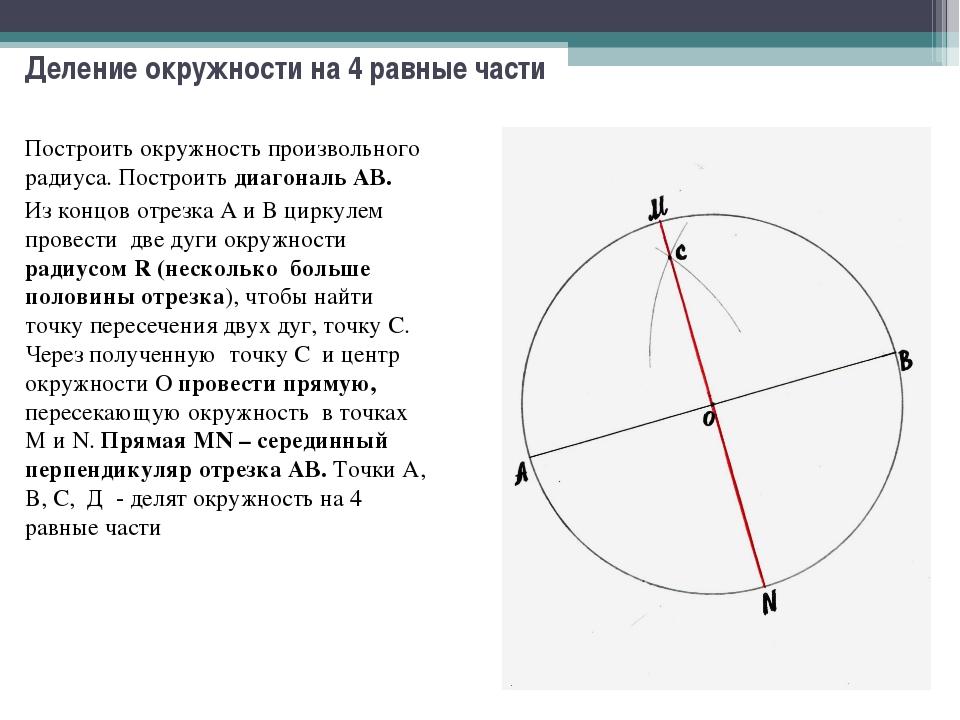 Деление окружности на 4 равные части Построить окружность произвольного радиу...