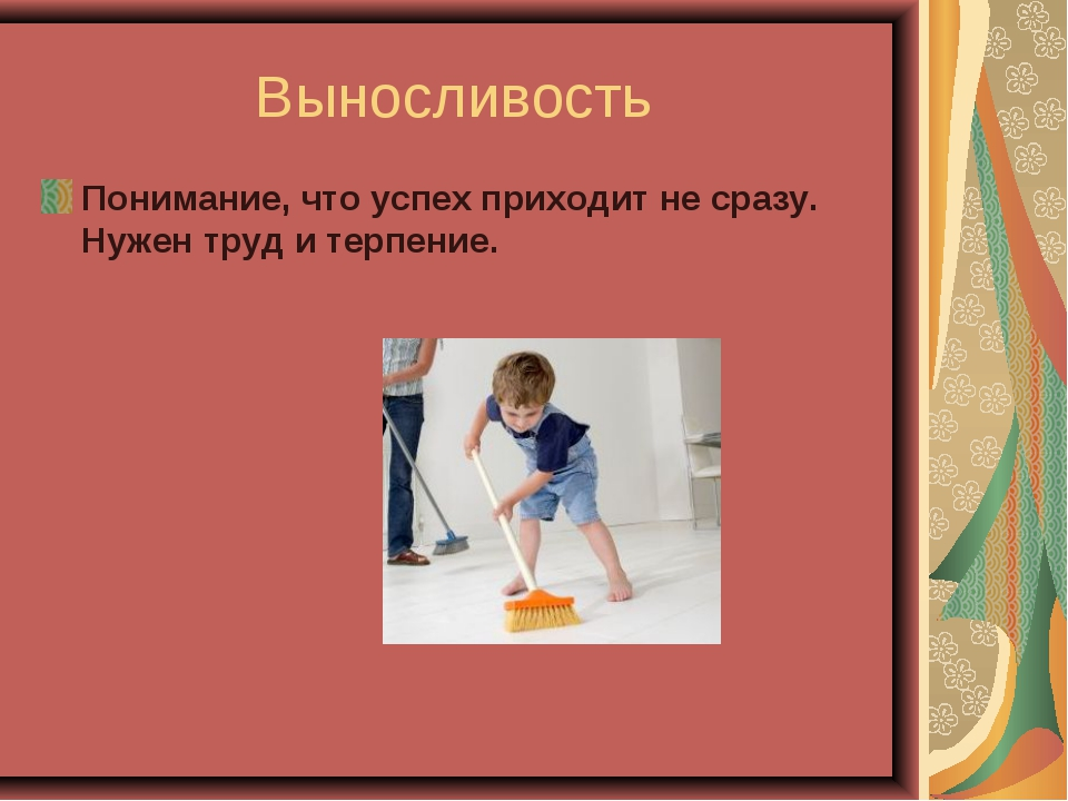 Выносливость Понимание, что успех приходит не сразу. Нужен труд и терпение.