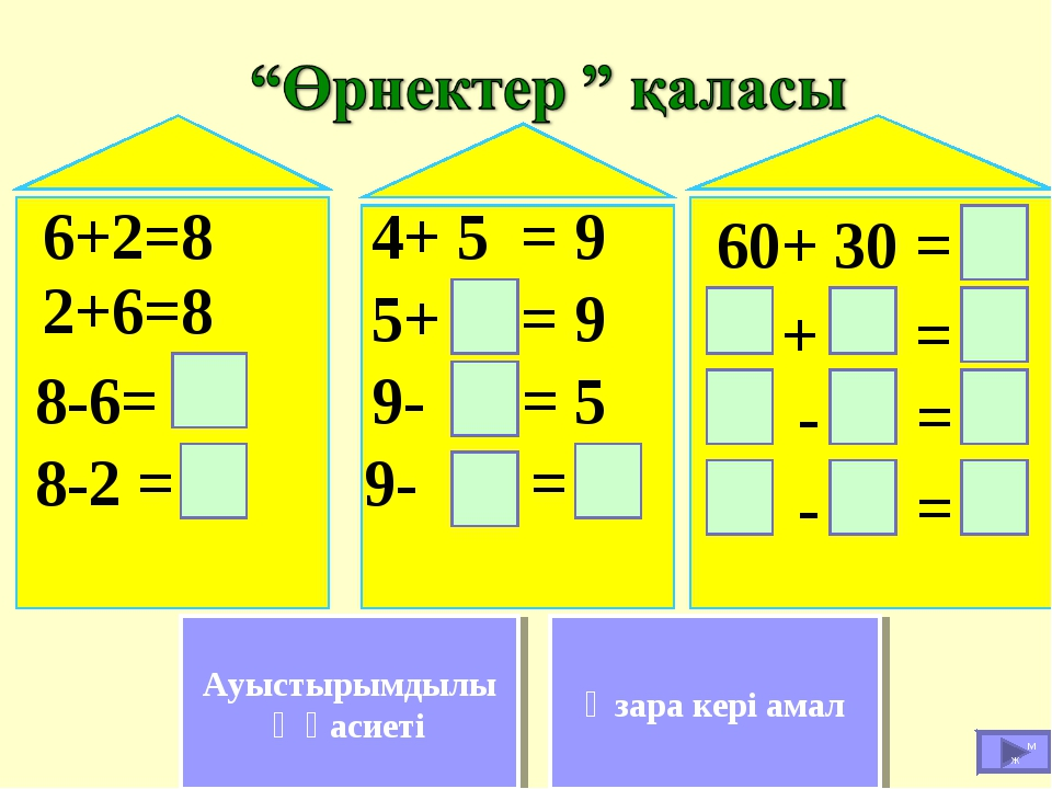 6+2=8 2+6=8 8-6= 8-2 = 9- = - = 9- = 5 5+ = 9 4+ 5 = 9 - = + = 60+ 30 = Өзара...