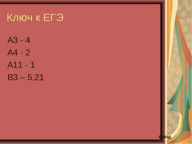 Ключ к ЕГЭ А3 - 4 А4 - 2 А11 - 1 В3 – 5,21 выход