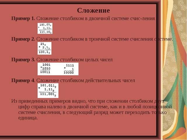 Сложение Пример 1. Сложение столбиком в двоичной системе счисления Пример 2....