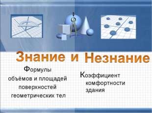 Формулы объёмов и площадей поверхностей геометрических тел Коэффициент комфор