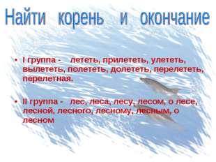 I группа - лететь, прилететь, улететь, вылететь, полететь, долететь, перелет