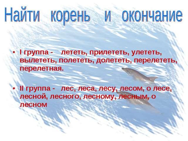 I группа - лететь, прилететь, улететь, вылететь, полететь, долететь, перелет...