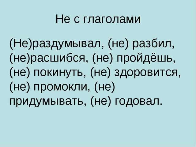 Не с глаголами (Не)раздумывал, (не) разбил, (не)расшибся, (не) пройдёшь, (не)...
