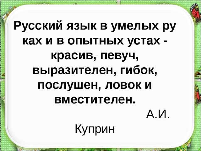 Русскийязыквумелыхрукахивопытныхустах-красив,певуч, выразителен, г...