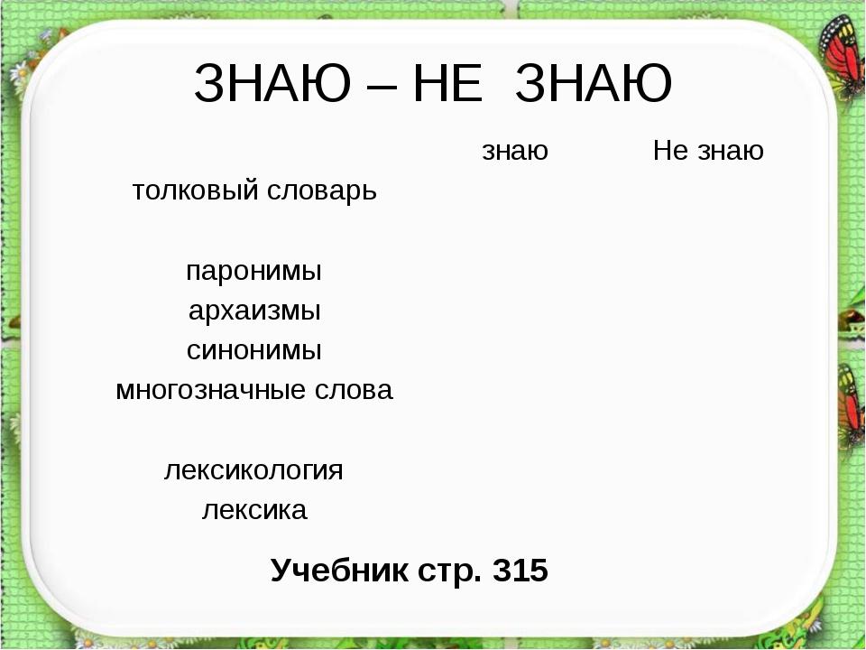 ЗНАЮ – НЕ ЗНАЮ Учебник стр. 315 знаюНе знаю толковый словарь паронимы а...