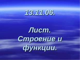 13.11.06. Лист. Строение и функции.