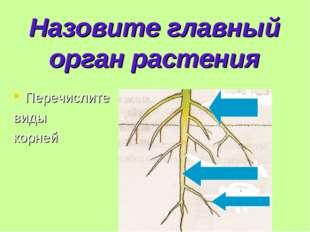 Назовите главный орган растения Перечислите виды корней