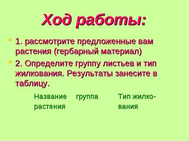 Ход работы: 1. рассмотрите предложенные вам растения (гербарный материал) 2....