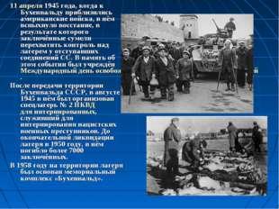 11 апреля1945 года, когда к Бухенвальду приблизились американские войска, в