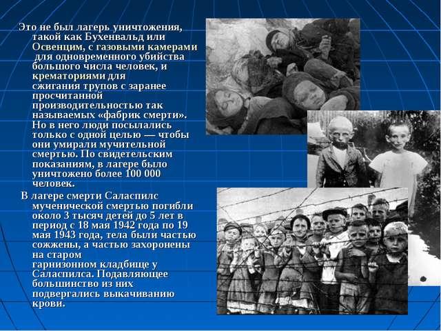 Это не был лагерь уничтожения, такой какБухенвальд илиОсвенцим, сгазовыми...