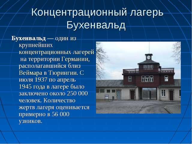 Концентрационный лагерь Бухенвальд Бухенвальд— один из крупнейшихконцентра...