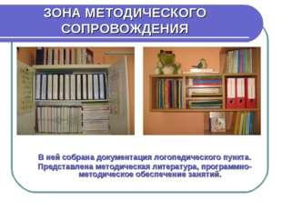 ЗОНА МЕТОДИЧЕСКОГО СОПРОВОЖДЕНИЯ В ней собрана документация логопедического п