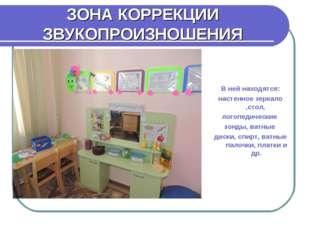 ЗОНА КОРРЕКЦИИ ЗВУКОПРОИЗНОШЕНИЯ В ней находятся: настенное зеркало ,стол, ло