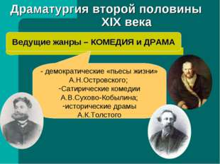 Драматургия второй половины XIX века Ведущие жанры – КОМЕДИЯ и ДРАМА - демокр