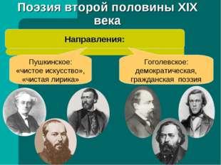 Поэзия второй половины XIX века Направления: Пушкинское: «чистое искусство»,