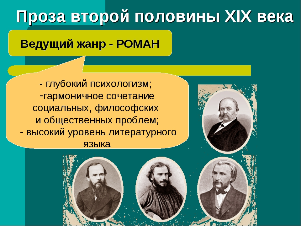 Проза второй половины XIX века Ведущий жанр - РОМАН - глубокий психологизм; г...