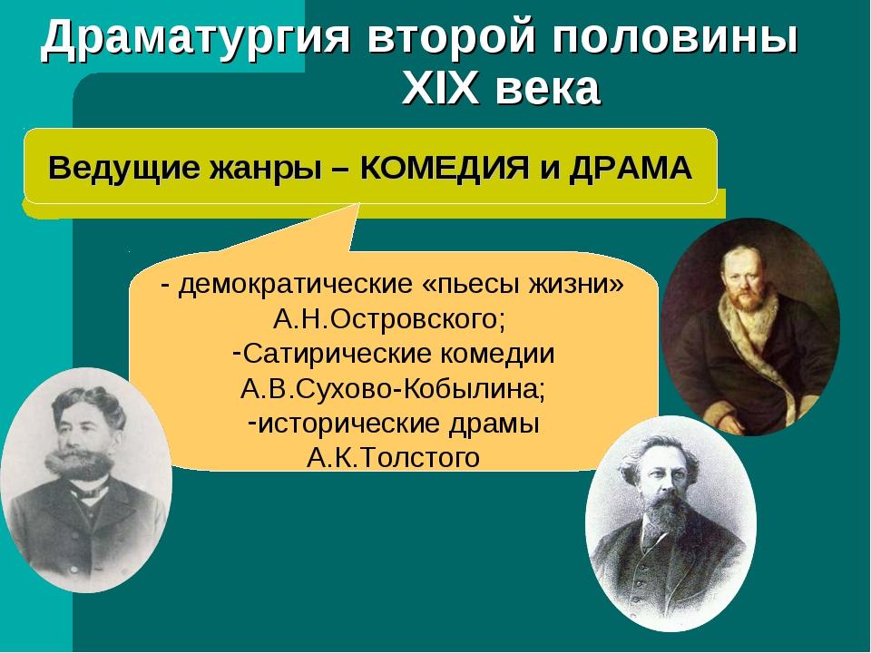 Драматургия второй половины XIX века Ведущие жанры – КОМЕДИЯ и ДРАМА - демокр...