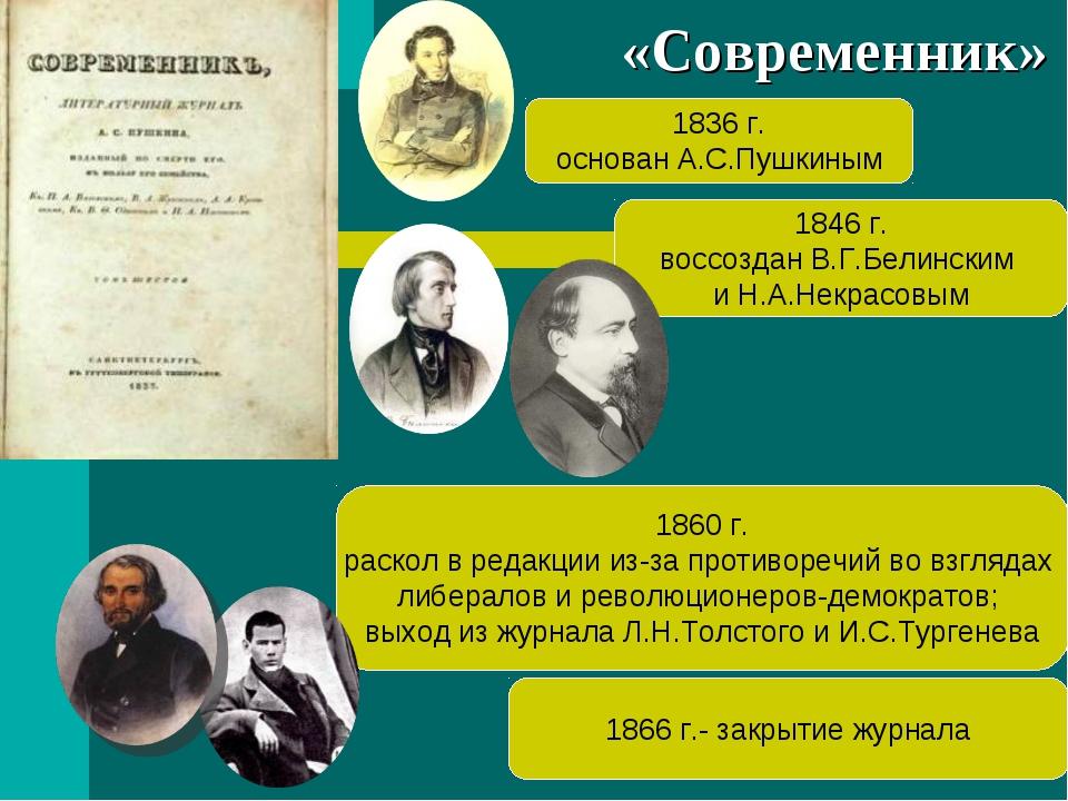 1846 г. воссоздан В.Г.Белинским и Н.А.Некрасовым 1836 г. основан А.С.Пушкиным...