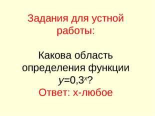 Задания для устной работы: Какова область определения функции y=0,3x? Ответ: