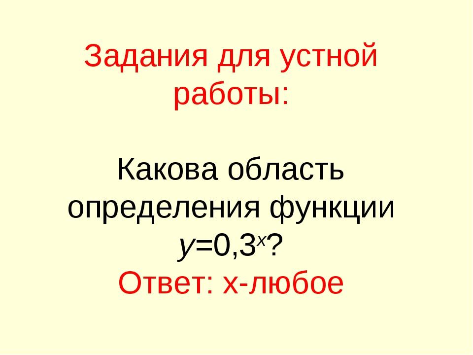 Задания для устной работы: Какова область определения функции y=0,3x? Ответ:...