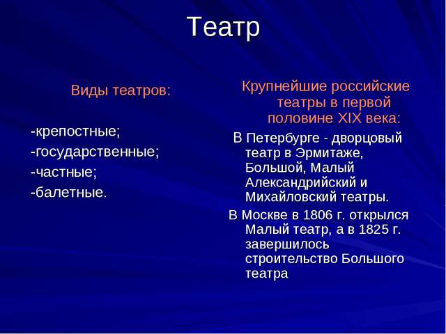Театр Виды театров: -крепостные; -государственные; -частные; -балетные. Крупн...