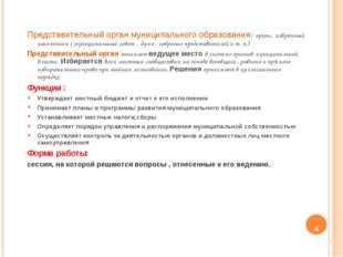 Представительный орган муниципального образования- орган, избранный население