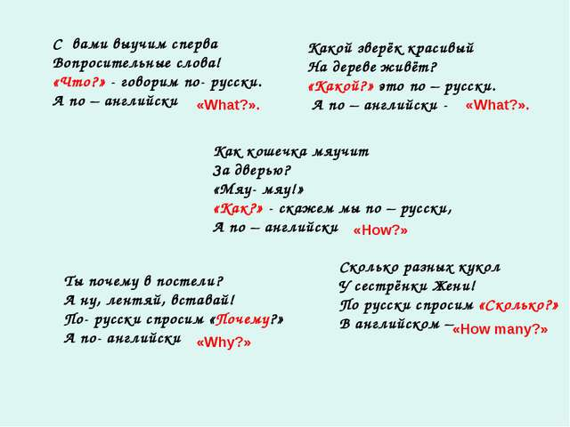 C вами выучим сперва Вопросительные слова! «Что?» - говорим по- русски. А по...