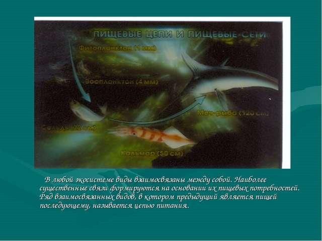 В любой экосистеме виды взаимосвязаны между собой. Наиболее существенные свя...
