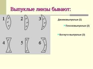Выпуклые линзы бывают: Двояковыпуклые (1) Плосковыпуклые (2) Вогнуто-выпукл