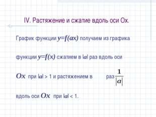 IV. Растяжение и сжатие вдоль оси Ох. График функции y=f(аx) получаем из граф