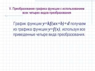 V. Преобразование графика функции с использованием всех четырех видов преобра