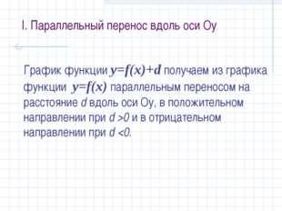 I. Параллельный перенос вдоль оси Оу График функции у=f(x)+d получаем из граф