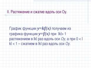 II. Растяжение и сжатие вдоль оси Оу. График функции y=kf(x) получаем из граф