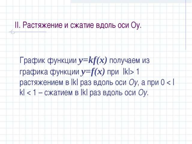 II. Растяжение и сжатие вдоль оси Оу. График функции y=kf(x) получаем из граф...