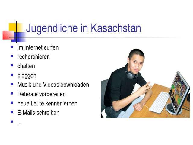 Jugendliche in Kasachstan im Internet surfen recherchieren chatten bloggen Mu...
