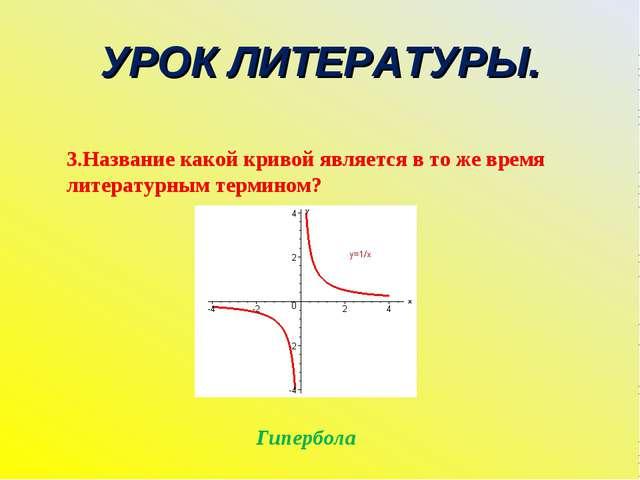 УРОК ЛИТЕРАТУРЫ. 3.Название какой кривой является в то же время литературным...