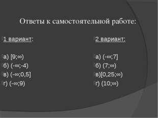 Ответы к самостоятельной работе: 1 вариант: a) [9;∞) б) (-∞;-4) в) (-∞;0,5] г